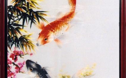 "High quality embroidery ""Two fish of good fortune"""