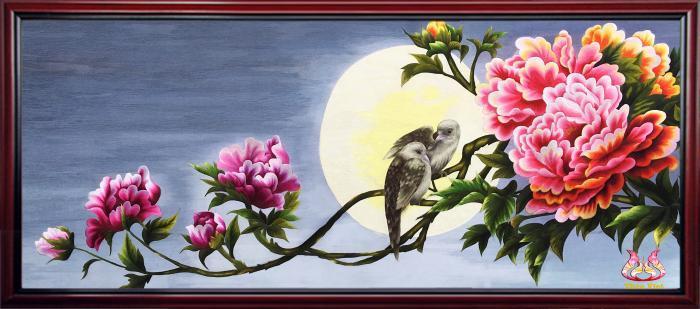y nghia phong thuy cua tranh theu hoa mau don