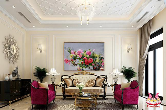 tranh thêu hoa mẫu đơn phú quý tại phòng khách