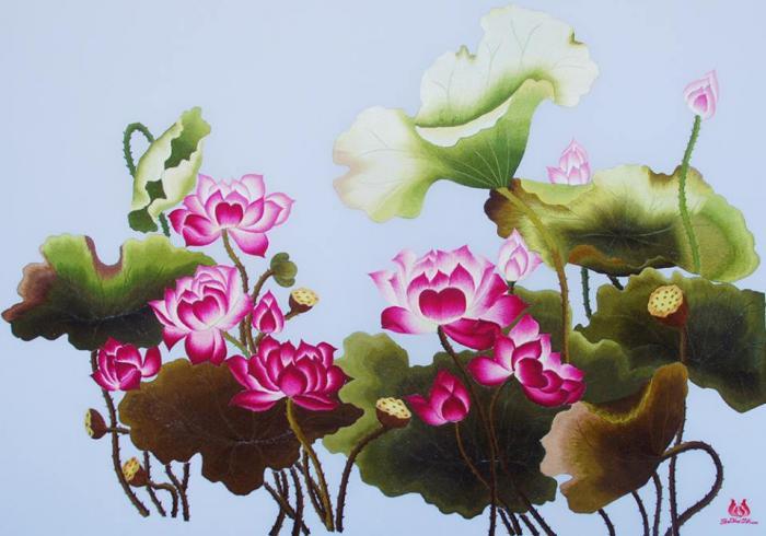 y nghia cua tranh theu hoa sen