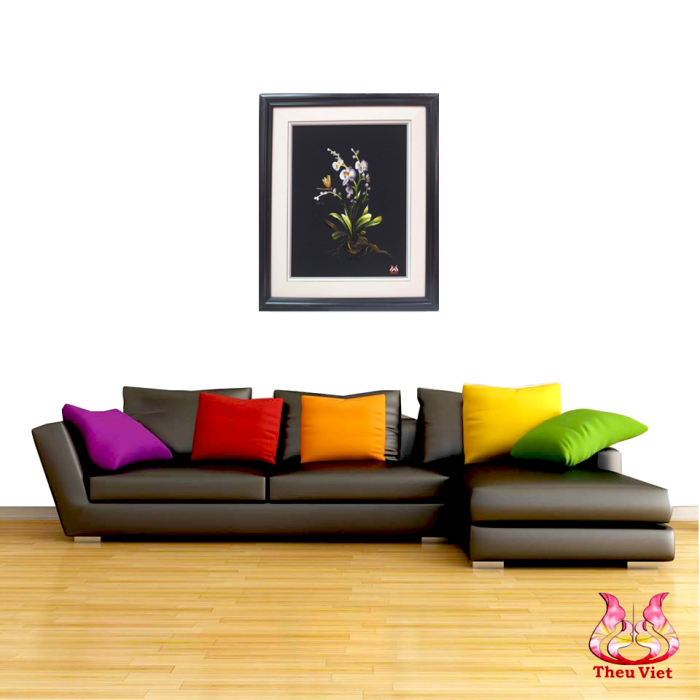 tranh thêu hoa lan MHOA0136