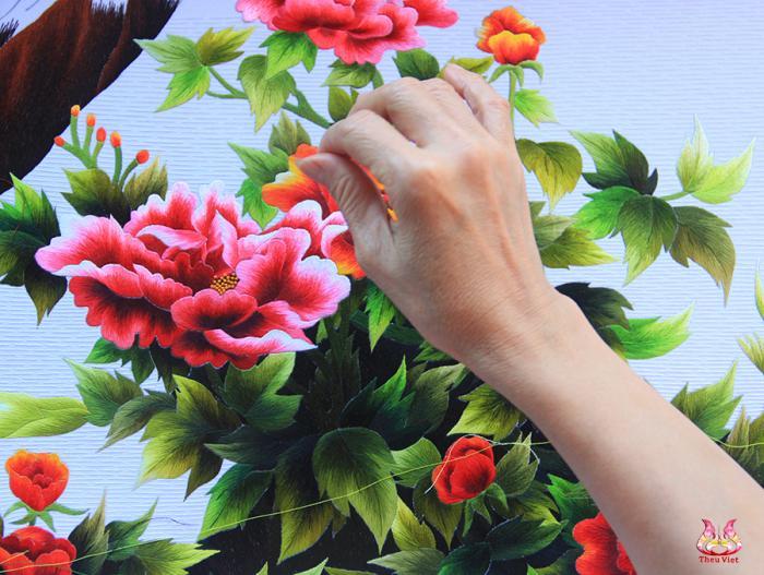 Hoa mẫu đơn thêu bằng tay