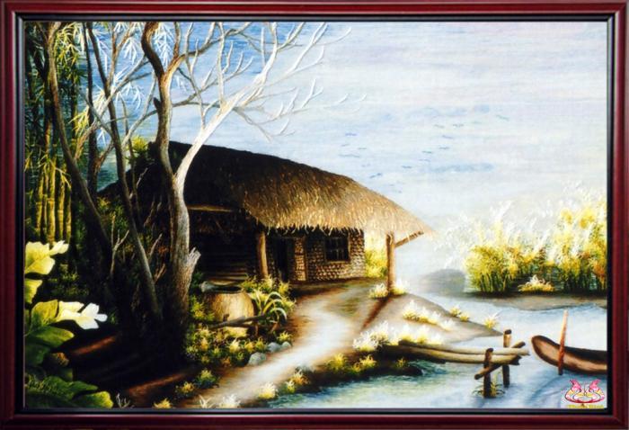Tranh phong thêu phong cảnh làng quê Bóng Chiều Xưa