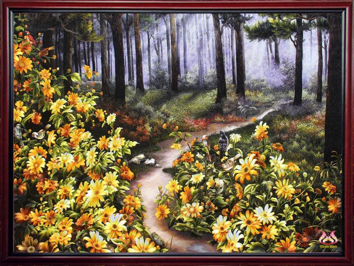 "Hand embroidery ""Season of yellow Tithonia Diversifolia"" 1"