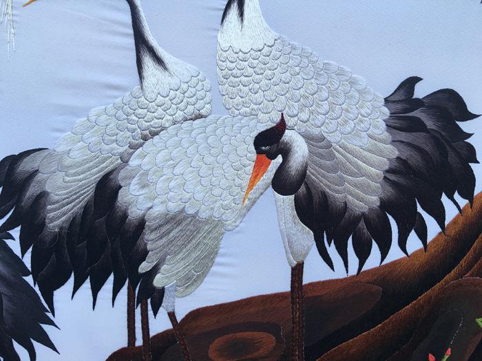 tranh thêu hình chim hạc
