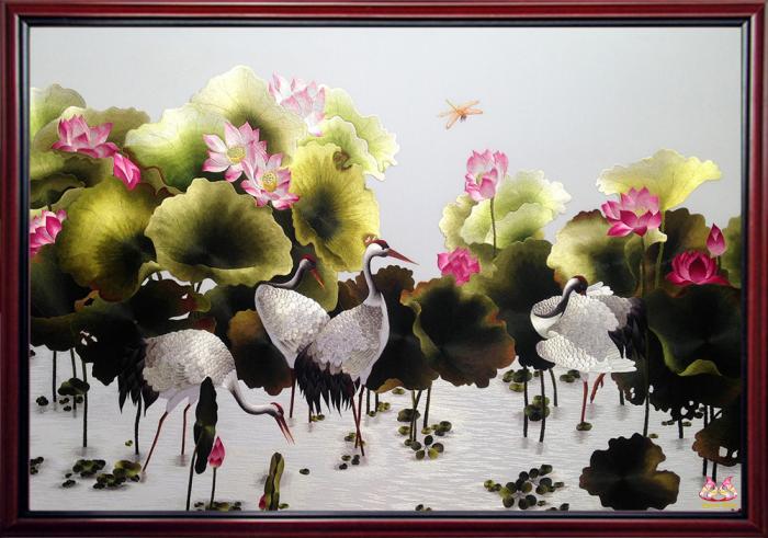 Tranh thêu Sen Hạc (MSEN0020) 2