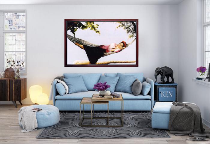 tranh thêu giấc mộng trưa hè tại phòng khách