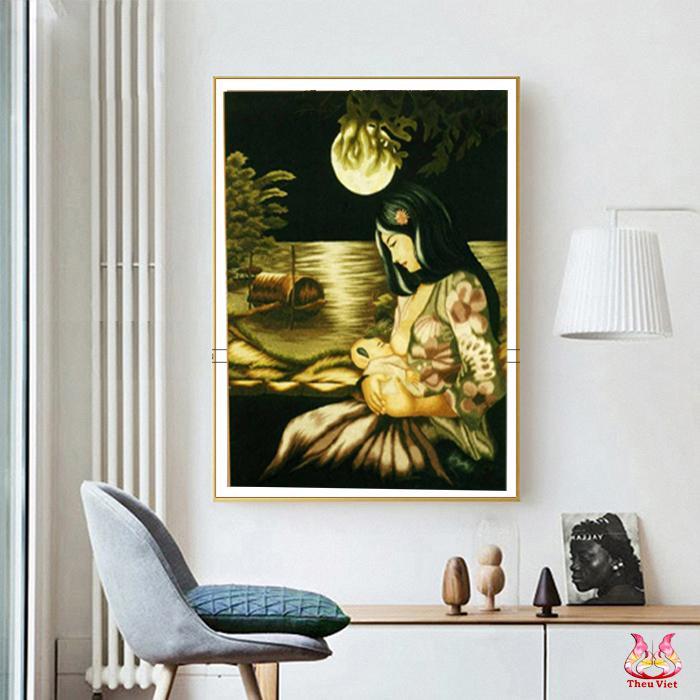 tranh thêu chân dung dòng sữa mẹ treo tường