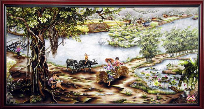 Tranh thêu phong cảnh làng quê 2