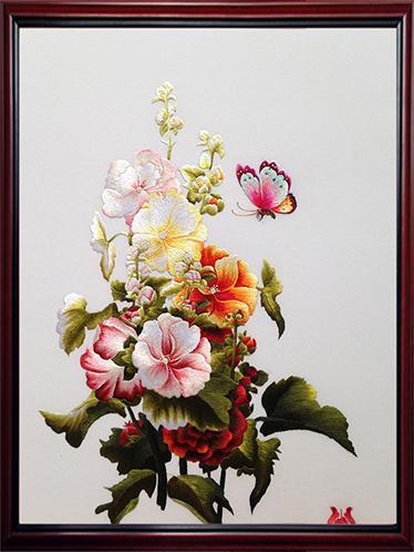 tranh thêu hoa bướm MHOA0111