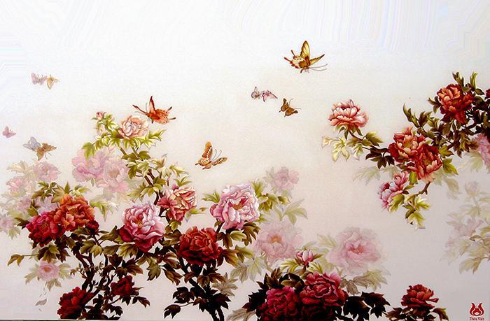 tranh thêu hoa mẫu đơn họa tiết bướm