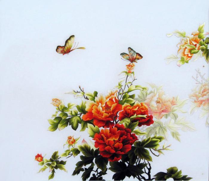 tranh thêu hoa mẫu đơn thêm bướm