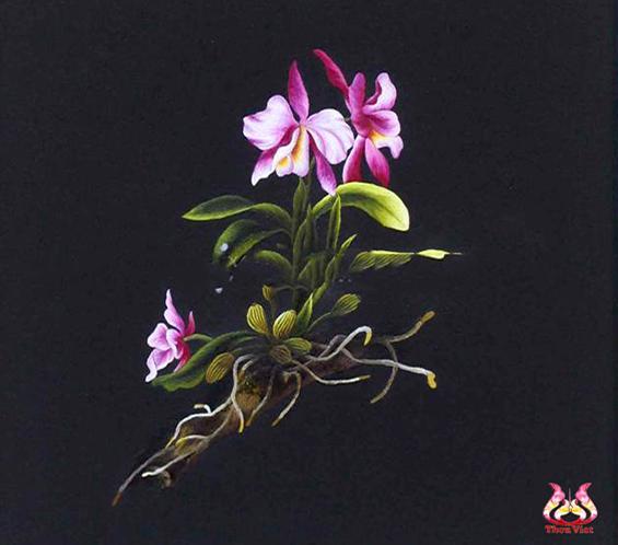 tranh thêu hoa lan MHOA0139