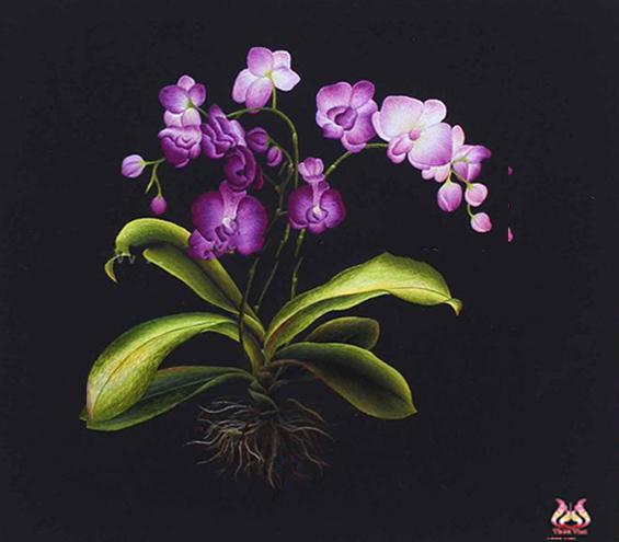 Tranh thêu hoa lan tím MHOA0135