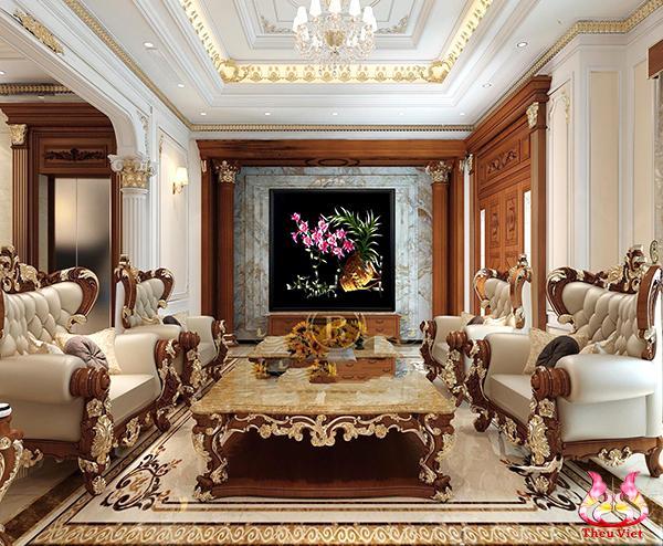 tranh thêu hoa lan tại phòng khách