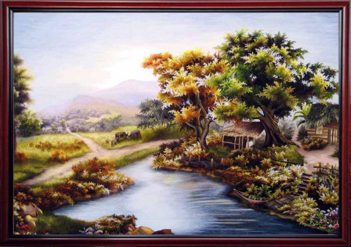 tranh thêu phong cảnh quê hương một miền quê
