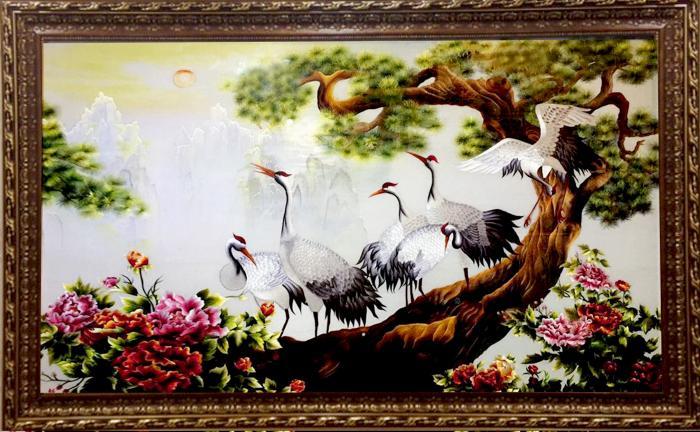 tranh thêu tay Tùng hạc diên niên