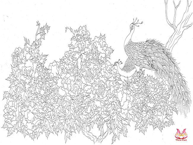 quy trình thêu tranh - vẽ lên giấy