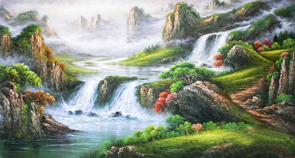 tranh thêu sơn thủy