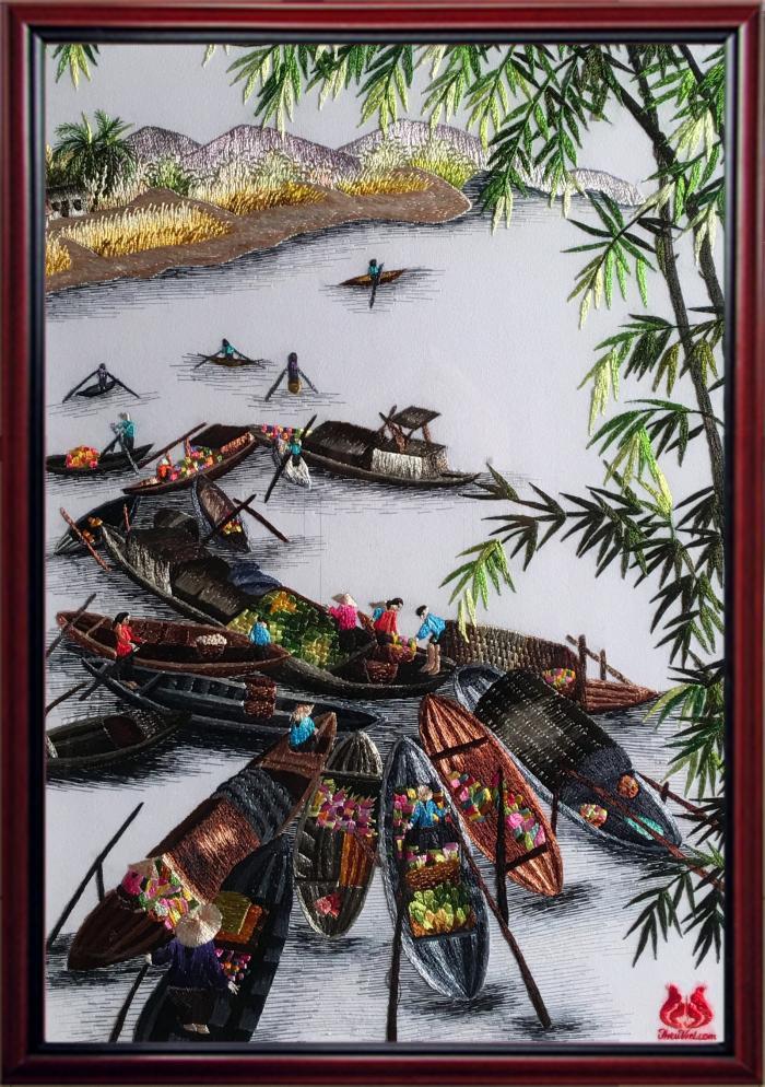 tranh thêu bến sông quê MPC0100