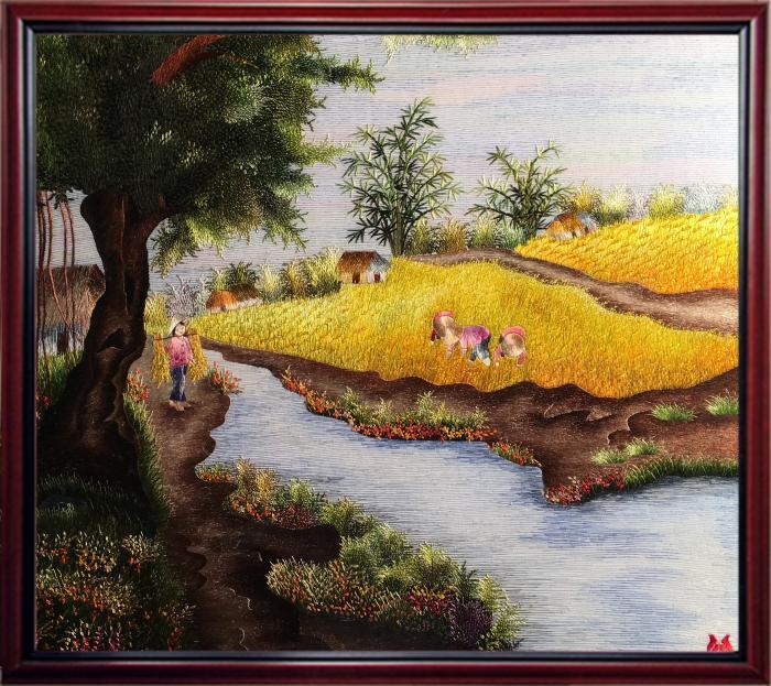 tranh thêu hợp mệnh kim - tranh phong cảnh làng quê