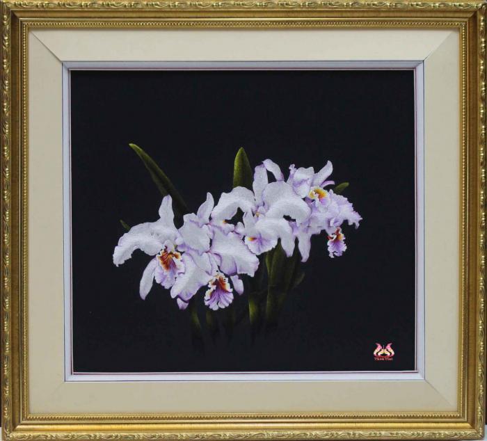 tranh thêu hợp mệnh kim - tranh thêu hoa lan trắng