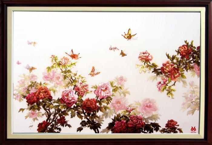tranh thêu hoa mẫu đơn MHOA0016