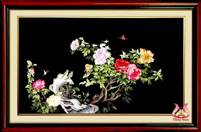 Tranh 9 bông hoa mẫu đơn - Tranh thêu hợp tuổi Tuất
