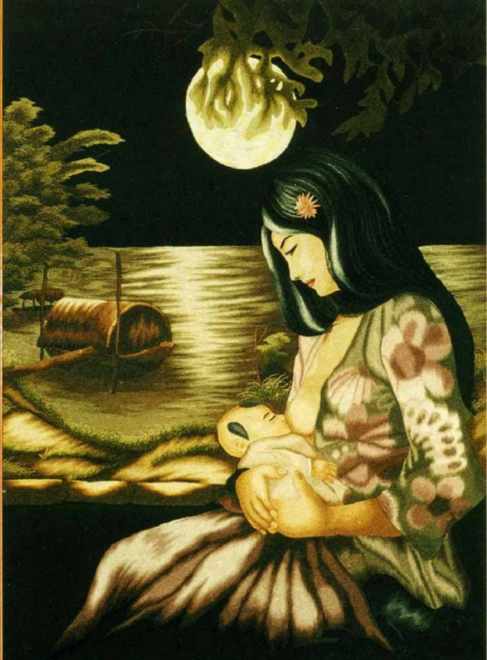 tranh thêu chân dung dòng sữa mẹ