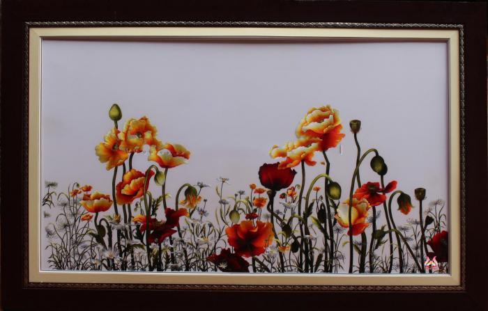Tranh thêu tay hoa conico 05