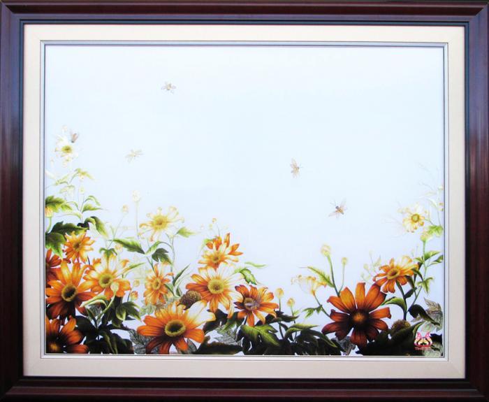 Tranh thêu tay hoa conico 09
