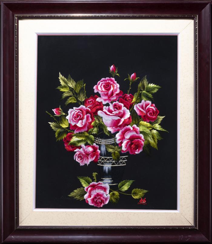 tranh thêu tay hoa hồng MHOA0025-1