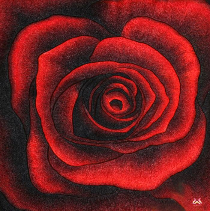 Tranh thêu tay hoa hồng (TVHH10)