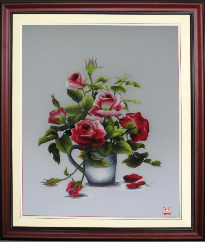 Tranh thêu tay hoa hồng (TVHH14)