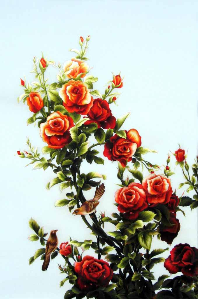 Tranh thêu tay hoa hồng (TVHH15)
