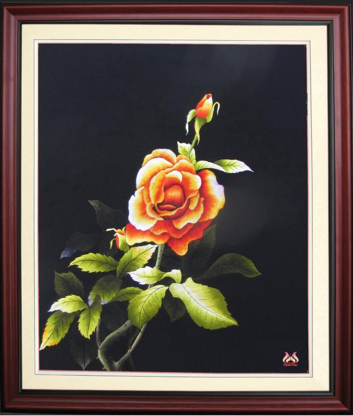 Tranh thêu tay hoa hồng (TVHH04)
