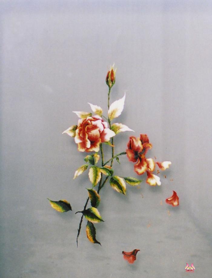 Tranh thêu tay hoa hồng (TVHH06)