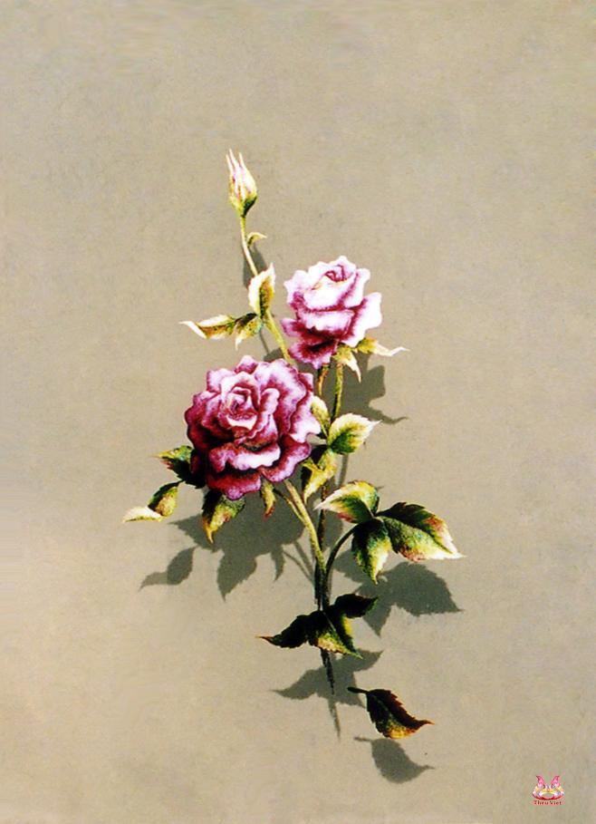 Tranh thêu tay hoa hồng (TVHH07)