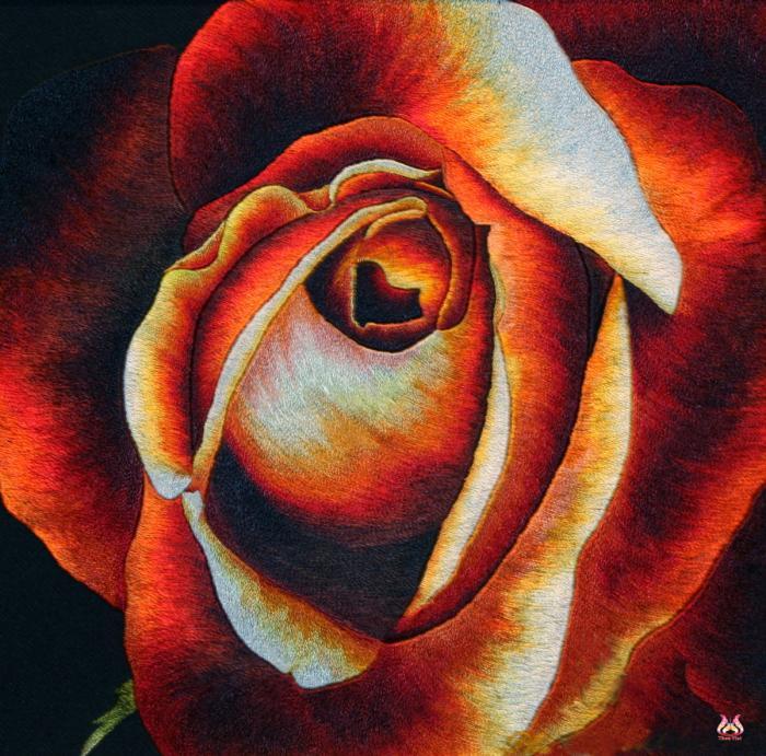 Tranh thêu tay hoa hồng (TVHH09)