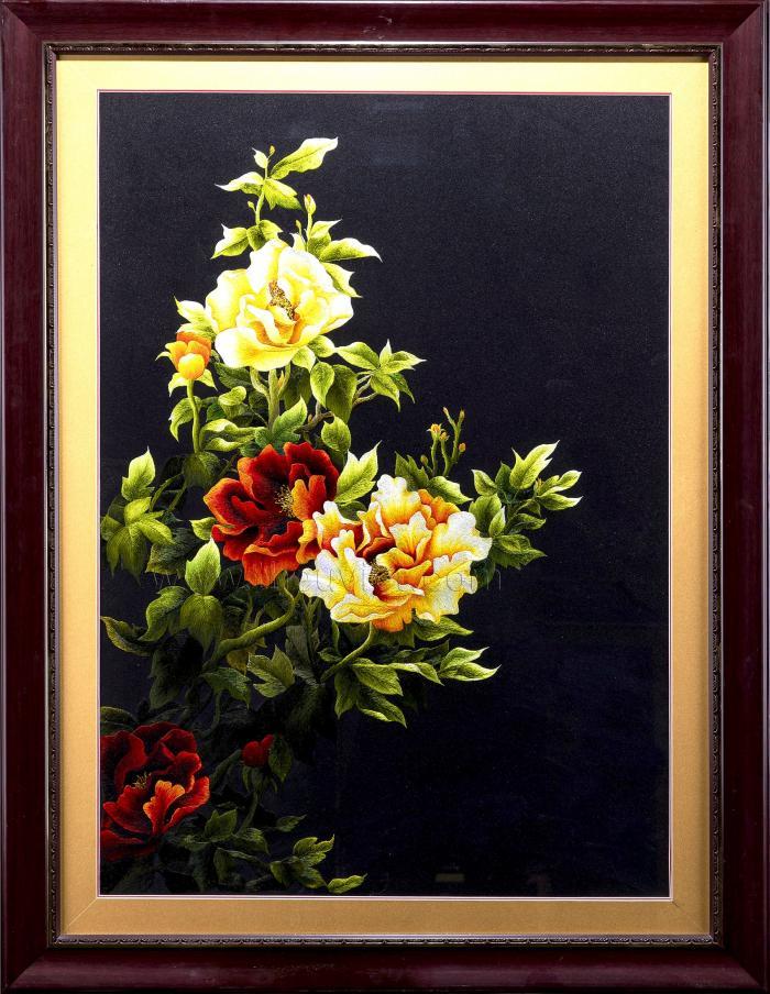 tranh thêu tay hoa mẫu đơn MHOA0106