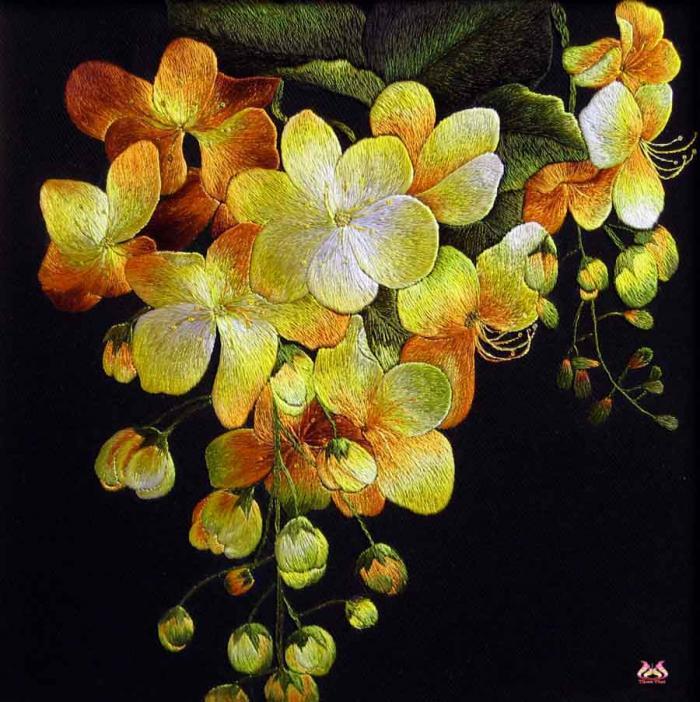 tranh thêu tay hoa phong lan (TVHPL01)