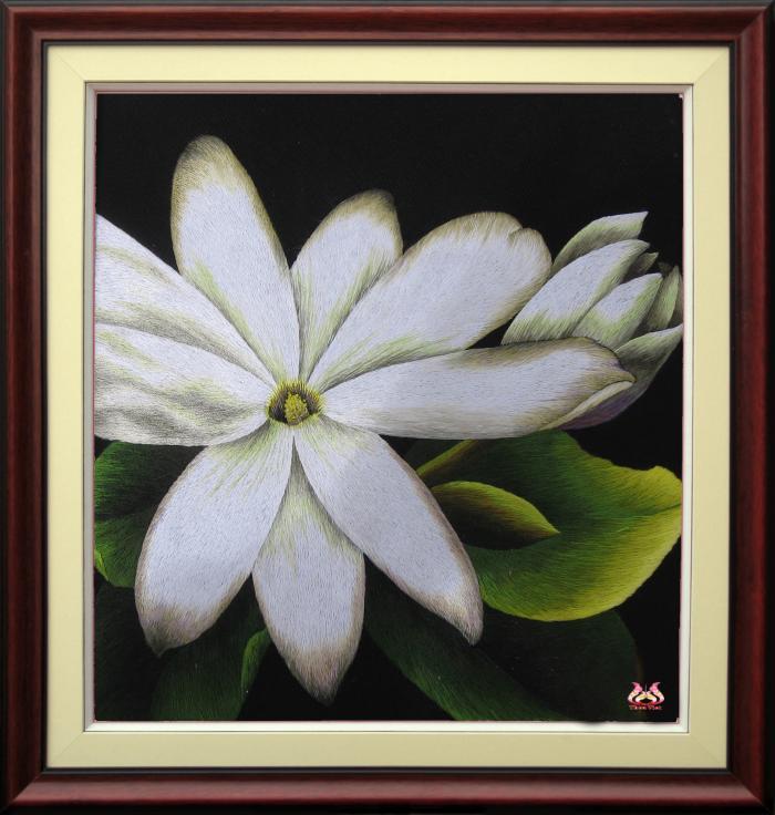 Tranh thêu tay hoa phong lan (TVHPL05)
