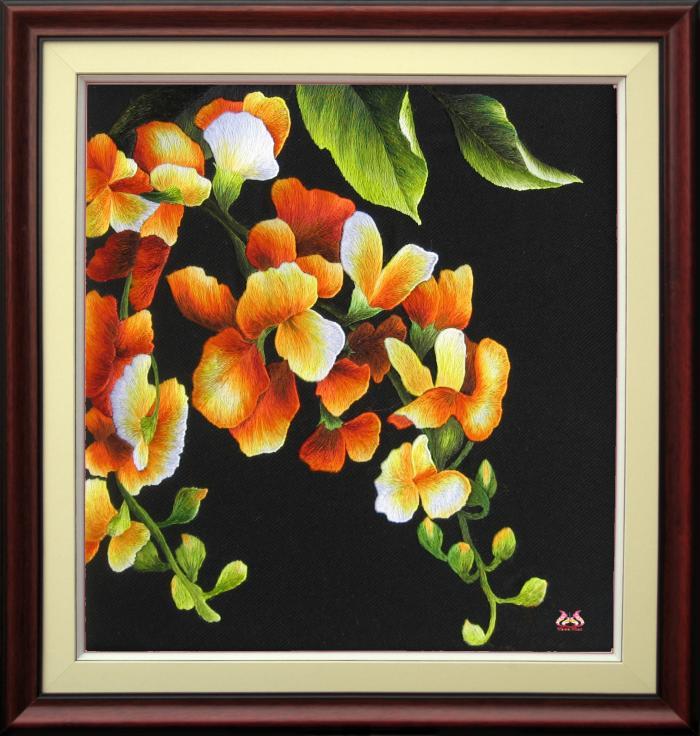 Tranh thêu tay hoa phong lan (TVHPL08)