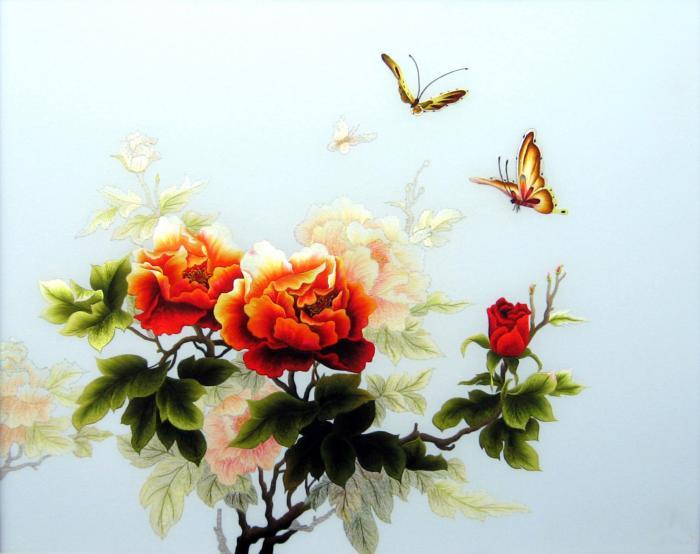 tranh thêu hoa mẫu đơn phú quý