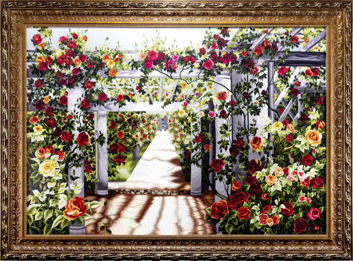 tranh thêu tay phong cảnh ngõ hồng MPC0116