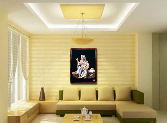tranh thêu tay thời gian của mẹ tại phòng khách