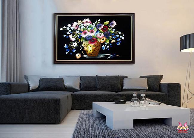 tranh thêu tay tĩnh vật trang trí phòng khách