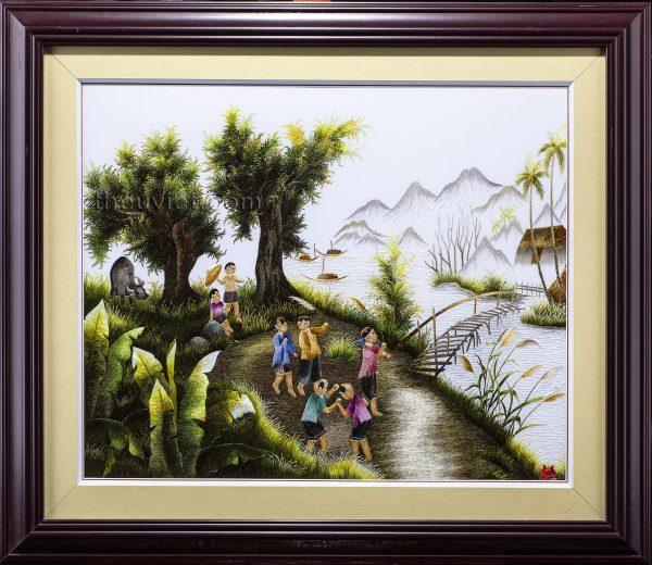 tranh thêu tay phong cảnh quê hương MPC0017