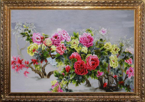 tranh thêu hoa mẫu đơn MHOA0037