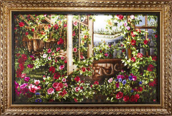 tranh thêu tay cửa sổ hoa hồng MHOA0014